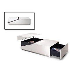 Modern Rectangular White Coffee Table with Drawer and Storage Keeper - Features: