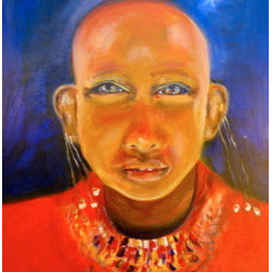 """African Woman Ii "" (Original) By Elizabeth Welles - This Piece Had Several Incarnations. Some See A Man, A Monk Or A Woman. What Draws Me Most To This Are The Eyes, And The Texture And Color Of The Neck Piece."