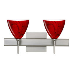 Besa Lighting - Besa Lighting 2SW-1779MA-SQ Mia 2 Light Reversible Halogen Bathroom Vanity Light - Mia has a classical bell shape that complements aesthetic, while also built for optimal illumination. Our Magma glass is a fiery red cased glass, with inner opal and a glossy finish. The deep red color is accented by flowing marbleized black lines, and nestled between the inner opal and outer clear layers. When lit the glass is vitalizing as well as stylish, that adds appeal to any environment. This blown glass is handcrafted by a skilled artisan, utilizing century-old techniques passed down from generation to generation. Each piece of this decor has its own artistic nature that can be individually appreciated. The vanity fixture is equipped with decorative lamp holders, removable finials, linear rectangular housing, and a removable low profile oval canopy cover.Features: