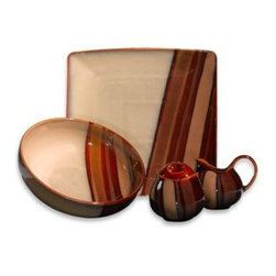 Sango - Sango Avanti Brown 5-Piece Completer Set - This modern dinnerware comes alive on your table with square and round shapes highlighting inviting earth tones. The stoneware pieces are enhanced with a gorgeous hand-brushed reactive glaze that gives each piece a striking presence on your table.