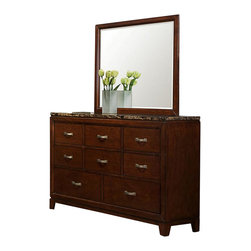 Homelegance - Homelegance Bleeker 8-Drawer Dresser with Faux Marble Top - Blending elements found in both contemporary and transitional styling, the collection allows for functional placement in many bedroom settings. Faux marble immediately draws your eye to the linear design of the cherry finished case pieces - the rich tones perfectly accented by uniquely designed burnished hardware. The coordinating beds are where your personal design preferences are allowed the creativity to create your own look - the framed headboard of the wood bed features a stylish brown-grey toned fabric, while the padded dark brown bi-cast vinyl bed lends itself to a more contemporary look.