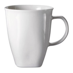 Office Settings - Office Settings Chef's Table Fine Porcelain Mugs, 16oz, White, 8/Box - Sophisticated dinnerware is as durable as it is attractive. Rolled edges and finger-touch grips ensure easy handling, wet or dry. All-white pallet matches any table decor.