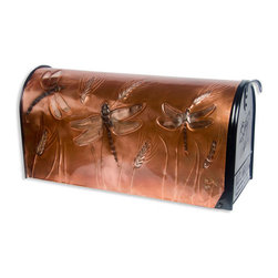 Great Dragonflies Post Mount Copper Mailbox - Copper - Add this beautiful piece of art to your home's front walk.  This post mount copper mailbox is hand-embossed with dragonflies flying among stalks of wheat.