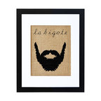 Fiber and Water - La Bigote Art - Whether you're a fan of facial fuzz, Spanish men or just quirky prints with a sense of humor, this is a great find. The silhouetted beard, and its title in Spanish, is hand-printed onto burlap for an appropriately rough-textured, natural look and feel, and then finished off neatly with a crisp white matte and black contemporary frame.