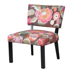 Powell - Powell Pink and Brown Floral Accent Chair - Trendy and sophisticated, the floral accent chair is hip, elegant and fun. The rich merlot wood frame is complemented by the popular pink and brown color combination of the floral upholstery. The plush seat and chair back provide for lasting utilization and comfort. A great, eye-catching piece for any room in your home. Some assembly required.