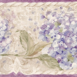 York Wallcoverings - Purple Cream Blue Floral Wallpaper Border - Wallpaper borders bring color, character and detail to a room with exciting new look for your walls - easier and quicker than ever.