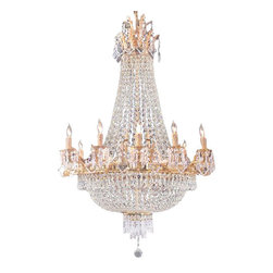 The Gallery - French Empire Crystal Chandelier - Whether placed in an entryway or foyer, these magnificent chandeliers make the ultimate statement. True to the empire originals, these wonderful chandeliers are made with the finest materials and are fashioned in the same manner that European artisans have used for generations. Dressed with 100% crystal, this chandelier is characteristic of the grand chandeliers which decorated the finest chateaux and palaces across Europe. They reflect an era of class and elegance, and are sure to lend a special atmosphere in every home.