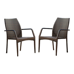 Great Deal Furniture - Cabo Outdoor Wicker Chairs ( Set of 2 ) - The Cabo outdoor chairs allow users to enjoy the nature in their own backyard . These stackable chairs helps you save space and still look stylish . Made from wicker , these chairs are sure to withstand the outdoor elements .