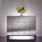 Omni Mirrored Drawer Chest - Six mirrored drawer fronts are made strong by the steel base. However it's used, it's guaranteed to reflect the style of the room.