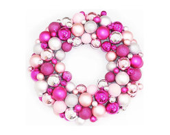 Shatterproof Christmas Ball Ornament Wreath by JessicaStrayerDesign - Who says you can't mix it up for Christmas? This pink and white wreath would look darling in a bedroom or even a dining room. I love the unexpected dose of pink.