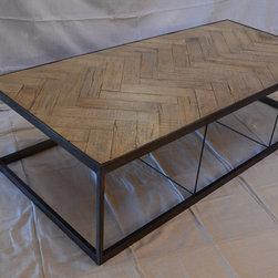 Metal Tree Furniture - Chevron Coffee Table - Wood and Metal Chevron Pattern Coffee Table