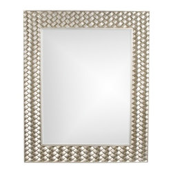 Howard Elliott - Cabrera Mirror in Bright Silver Leaf - Frame Size: 36 in. x 44 in.x 1 in.. Mirror Size: 26 in. x 34 in.Our Cabrera Mirror is a Contemporary piece featuring a rectangular frame with a raised basket weave effect. It is finished in a brilliant silver leaf.