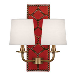 Robbert Abbey - WILLIAMSBURG Dunmore Lightfoot Red Leather Double Sconce - Deep Patina Bronze - Available in Polished Nickel or Deep Patina Bronze Finish.  Backplate Upholstered in Dragons Blood Leather with Nailhead Detail.  Aged Brass Accents.  2-60W Max.  Bulb Type: B. Candelabra Base.  Direct Wire Only.  Oyster Linen Shades.  Back Plate: 5 3/4��_ w x 16 1/2��_ d x 1 1/2��_ h  Shade: 5��_ w x 6��_ d x 6��_ h