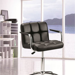 Fine Mod Imports - Studio Office Chair - Contemporary style. Leatherette seat and back. Tilt lock, tilt tension and removable arms. Chrome plated steel frame. Adjustable height. Five star base with casters. Warranty: One year. Black color. Assembly required. Seat: 20 in. W x 18 in. D x 18 in. to 20.5 in. H. Overall: 25 in. W x 24 in. D x 38.5 in. H (30 lbs.)The Studio office chair offers unique design and comfort all in one package, making it must-have for your office. Office Chair looks great in the modern office or home based workstation. This chair is perfect for any office environment.