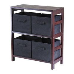 Winsome - Winsome Capri 2-Section M Wood Storage Shelf Bookcase with 4 Foldable Black Fabr - Shop for Caddies and Stands from Hayneedle.com! Streamline storage beautifully with the Capri 2-Section M Storage Shelf with 4 Foldable Black Fabric baskets. Four removable collapsible black fabric baskets are soft and have handles for easy pullout storage; they fit snugly into a sleek wood solid and veneer frame made rich with a dark wood finish - it's destined to become the hero of all your storage systems. The 3-section design is easy to access and still slim enough to fit in small spaces ensuring clothes in the bedroom linens in the bathroom and loads of laundry in the washroom are in their proper places. Assembly is required; 30-day warranty included.Basket DimensionsBaskets: 11W x 10D x 9H inchesAbout Winsome TradingWinsome Trading has been a manufacturer and distributor of quality products for the home for over 30 years. Specializing in furniture crafted of solid wood Winsome also crafts unique furniture using wrought iron aluminum steel marble and glass. Winsome's home office is located in Woodinville Washington. The company has its own product design and development team offering continuous innovation.