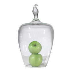 """Tempo Luxury Home - Pirouette from the Belle Du Jaar Collection by Joe Ginsberg - Striking a lovely balance between form and function, the Pirouette bell jar offers an array of creative uses—perfect for hors d'oeuvres or protecting a cherished keepsake. 6.5""""W X 17""""H. These unique hand-blown glass cloches are made to order and have a approximate lead-time of four weeks."""