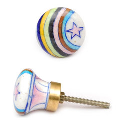 "Knobco - Rainbows Knob, White Cabinet  Knob With Pink Star And Multicolor Rainbow - White cabinet  knob with pink star and multicolor rainbow from Jaipur, India. Unique, hand painted cabinet knobs for your kitchen and bathroom cabinets. 1.5"" in diameter. Includes screws for installation."