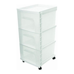 "Home Products - Three Drawer Cart White - HOMZ Three Drawer Cart is ideal for general storage throughout the home; Includes 4 casters for easy mobility; White Cart with Clear Drawers; 12.25"" x 14.25"" x 26.5""  This item cannot be shipped to APO/FPO addresses. Please accept our apologies."