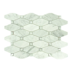 "Euro Glass - Imperial Cloud IS1 Unique Shapes White Backsplash Polished Glass and Stone - Sheet size:  10 1/8"" x 13 1/4""   Tile Size:  1 3/4"" x 3 3/4""   Tiles per sheet:  48    Tile thickness:  1/4""   Grout Joints:  1/8""   Sheet Mount:  Mesh Backed     Sold by the sheet    -"