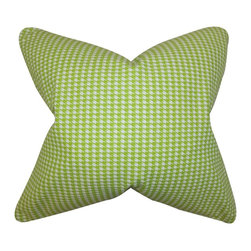 """The Pillow Collection - Lviv Houndstooth Pillow Green 20"""" x 20"""" - Decorate your home with this lovely toss pillow. Featuring a houndstooth pattern in shades of chartreuse green and white, this indoor pillow adds depth and dimension to your living space. Made of 100% soft cotton material, this 20"""" pillow ensures long lasting quality and comfort."""