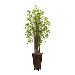 "Nearly Natural - Grass Bamboo Silk Plant - Includes decorative planter. Unique mixture of grass and bamboo. Wispy leaves burst forth in an explosion of soft color. Never needs water. Made from silk. Green color. Planter: 8.75 in. W x 8.75 in. D x 17.25 in. H. Overall: 28 in. L x 28 in. W x 66 in. HStanding tall (five and a half feet) and ready to dance in wind, this beautiful bamboo and grass plant will bring an ""Eastern"" feel to any decor. With several distinct stalks of varying hues, the wispy leaves burst forth in an explosion of soft color. Looks great anywhere - your living or dining room, an office reception area, or anywhere else."