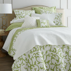 "Horchow - Standard Serendipity Quilted Sham - All-cotton ""Serendipity"" bed linens come in your choice of Green, Coral, or Blue. Quilt has a rococo-inspired motif on off-white and lattice-print reverse. Please select color when ordering. Spot clean white linen/cotton diamond-tuck pillow with feathe..."