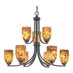 Design Classics Lighting - Modern Chandelier with Brown Art Glass in Matte Black Finish - 586-07 GL1005D - Contemporary / modern matte black 9-light chandelier. Takes (9) 100-watt incandescent A19 bulb(s). Bulb(s) sold separately. UL listed. Dry location rated.