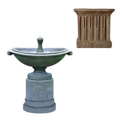 Campania International - Medici Ellipse Fountain - Aged Limestone (AL) - 394 lbs. Shipping is available throughout the continental United States. As these fountains are made to order,_please allow 4 to 6 weeks for delivery. Drop ship is curbside delivery only.