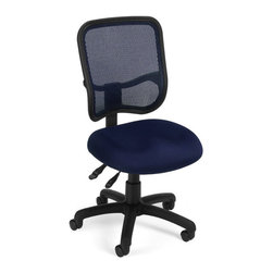 OFM - OFM Mesh Comfort Series Ergonomic Task Chair in Navy - OFM - Office Chairs - 130A04 - Get contemporary style and all-day comfort with OFM's Modern Mesh Ergonomic Task Chair 130. The back features built-in lumbar support and breathable mesh gives long-term comfort. Plus the mesh and seat fabric are it stain resistant so the chair keeps its