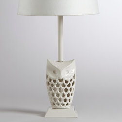 White Owl Accent Lamp Base - Maybe this little lamp will be just the right touch of white on your desk or kitchen counter.