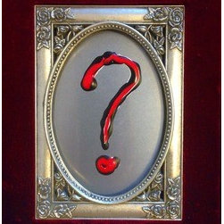 "The Regal Question (Original) by Randy Edward Penird - Acrylic paint on Aluminum framed in a velvet and cast metal frame.  Showing the elegance in asking the one question that always drives us forward.  ""?"""