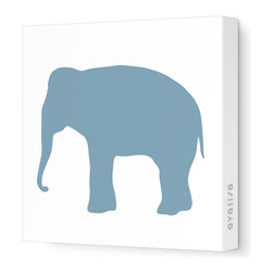 """Avalisa - Silhouette - Elephant Stretched Wall Art, 28"""" x 28"""", Blue Gray - Don't forget the walls when you're looking for ways to add color and whimsy. This elephant silhouette is printed on fabric in a zoo's worth of colors and sizes. Pick one or a pack of pachyderms for a circus-like parade around your child's room."""
