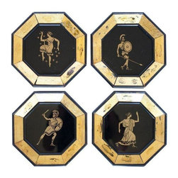 Pre-owned Octagonal Greek Warrior Decorative Plates - 4 - This is a hard-to-find set of 4 vintage octagonal plates. Reverse painted Greek warriors animate these stunning decorative art pieces. Great scale for flanking a mirror or any other piece that needs some friends. Price just reduced!
