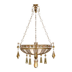Fine Art Lamps - Encased Multi-colored Gems Pendant, 728640-1ST - Why just light a room when you can truly dazzle? A gallery of crystal gems — citrine, carnelian, smoky quartz — bedeck this dramatic pendant. Hang it anywhere you want to feel like royalty.