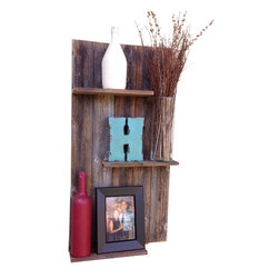 (del)Hutson Designs - Rustic Mod - reclaimed wood wall shelf - This item is made from old fence wood. It has 3 floating shelves that are 12inch wide and about 3.5 inches deep.