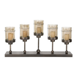 Uttermost - Lamya Metal Candelabra - A sturdy base, symmetrical design and rustic appeal makes this bronze finished metal candelabra a bright choice for your mantle or hearth. With five glass jar candles perched on beaded metal rods of various heights, you'll have more than a flicker of hope for a warm, inviting scene.