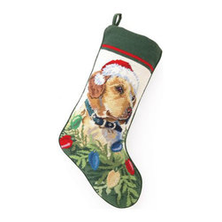 Peking Handicraft - Old Yeller Needlepoint Stocking - With its charming vintage design and intricate needle point quality, our adorable pet stockings are ready to fill with toys and treats for your best friends! This well made stocking features a plush velveteen color coordinated back and is meant to last for years! Indeed Decor will donate 20% of profits to animal rescue charities. Dry Clean Only.