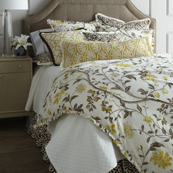 "French Laundry Home - French Laundry Home King Matelasse Coverlet, 98"" x 108"" - Yasmine bedding—the picture of modern serenity in yellow, chocolate, and ivory. From French Laundry Home. All of cotton unless otherwise stated. Dust skirt has an 18"" drop. Floral linens with mini ruffle edge are imported. All other linens a..."