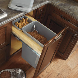 Diamond Full Height Base Wastebasket with Lid - There's more than one way to use a cabinet. Storage aficionados will love being able to have a place for everything, including a beloved pet's food.