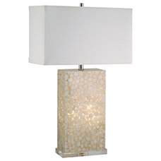 Contemporary Table Lamps Coastal White River Rock Cream Acrylic Night Light and Table Lamp