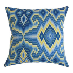 "The Pillow Collection - Ruairi Geometric Pillow Bluebell - Incorporate a trendy look into your home by adding this chic accent pillow. Let this square pillow bring elegance to your living room, bedroom or guestroom. This plush decor pillow is adorned with a geometric pattern with vibrant hues of blue and yellow. This 18"" pillow looks great on its own and easily blends with other patterns. Easy to clean and maintain, this throw pillow is made from 100% soft cotton fabric. Hidden zipper closure for easy cover removal.  Knife edge finish on all four sides.  Reversible pillow with the same fabric on the back side.  Spot cleaning suggested."