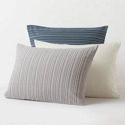 """Coyuchi - Coyuchi Seersucker Pillow Sham - The Coyuchi seersucker pillow sham offers a textured twist on a simple design. Soft and plush, this contemporary bedding allures with variegated stripes. Coconut shell button closure; Knife edge and envelope closure; Available in standard and euro sizes; Available in several colors; 100% organic cotton; Due to handmade quality, slight variations in fabric may occur; Machine washable; insert not included ; Standard: 26""""W x 20""""H; Euro: 26""""W x 26""""H"""