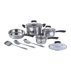 SPT Appliance - 11pc Stainless Steel Cookware set - Induction Ready and all heating surfaces. Aluminum core for superior heat conductivity and retention. Polished stainless steel interiors and exteriors. Stay cool handle and tempered glass cover. Included in Box: . 8.5 in. covered saute pan. 1-qt covered sauce pan. 2-qt covered sauce pan. 5-qt covered stock pot. Solid spoon. Slotted spoon. Slotted spatula. No assembly requiredThis 11-pc collection is functional, durable and stylish. A great starter set for new homeowners. Included are an 5-quart stock pot, 1 quart and 2 quart sauce pan and an 8.5 in. fry pan; each with a tempered glass lid. Stainless steel with aluminum core for quick heat conductivity and excellent heat retention. Polished interior and exterior surfaces will add style and shine to any kitchen.