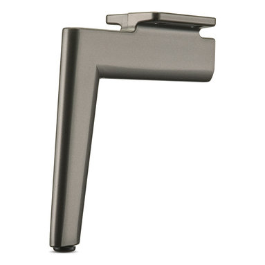 Aluminum Furniture Leg - FL19 - Luxurious furniture legs cast with a decorative tapered shape and an offset top plate for mounting. Hefty arm projects outwards from the mounting bracket, then tapers downwards to a narrow base. Sturdy steel construction with a surprisingly thin profile. Fixed leveler attached.