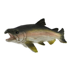 Zeckos - 18 Inch Tabletop Decorative Fish - Do you love to fish? Are you looking for something to decorate the man-cave? Are you looking for a great gift idea for the angler in the family? If so, this 18 inch long, 7 inch tall decorative trout is perfect for you. This is a great centerpiece for any dining room table, living room table, or even a coffee table This elegant design is made of poly resin but looks like wood and is sure to attract the attention of your guests.