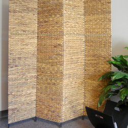 Jarkarta Folding Screen Room Divider - This beautiful room divider / folding screen has 4 textured water hyacinth panels. It has a natural feel with unique Oriental vibe.