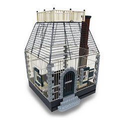 Zeckos - Featherstone Heights Stone Cottage Bird Cage - The Featherstone Heights Stone Cottage birdcage is a fully featured home, ready for your bird to move in (Once assembled, of course). Ideal for all small birds up to cockatiels, it boasts a generous for plan of 16 X 16 X 21, giving your feathered friend lots of living room. It has a removable frill floor and drawer for easy maintenance, has 2 outside access feeder cups, 2 perches for comfortable seating, a large entryway door for easy access and an extra rooftop access door. The Assembly will be required, but needs no building permits. It makes a great gift.