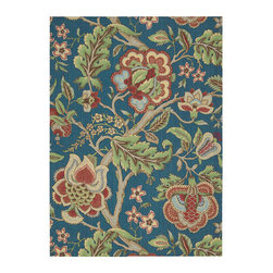 """Waverly - Waverly Global Awakening WGA01 2'6"""" x 4' Sapphire Area Rug 17659 - Add the delicate grace of flower blossoms and vines into any room with this classic Waverly floral Imperial Dress. The flowing design of fresh flowers, breezy leaves and twining vines is brought to life by a charming color scheme of sapphire, spice, garnet, and leafy green while the dense loop pile gives it a fabulous texture and feel."""
