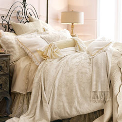 """Pine Cone Hill - Pine Cone Hill King Quilt - Pink and cream """"Celeste"""" duvet covers and shams are enhanced with delicate embroidery and 4"""" voile ruffles. Dust skirt has an 18"""" drop. Pink """"Sofia"""" floral European shams have frayed edges. All of pure linen. By Pom Pom at Home. We added """"Rous..."""