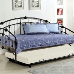 Furniture of America Braxton Traditional Style Metal Daybed with Trundle - Black - The Furniture of America Braxton Traditional Style Metal Daybed with Trundle - Black provides a perfect place to relax during a lazy afternoon. Maybe you can catch up on some reading. Maybe you can rest your eyes for a bit. And, with the trundle bed, maybe you can catch up on more than a few winks.About Furniture of America Based in California, Furniture of America has established itself as a premier provider of fine home furnishings. The people behind Furniture of America brand are moved by passion, hard work, and persistence. They are always striving to design the latest piece, keeping in mind their mission to make quality furniture available to urban-minded shoppers, without compromising the packaging integrity.Furniture of America offers unique, coordinated, and affordably designed furniture; they are a one-step resource for high-quality furniture with secure and professional packaging in the furniture industry.